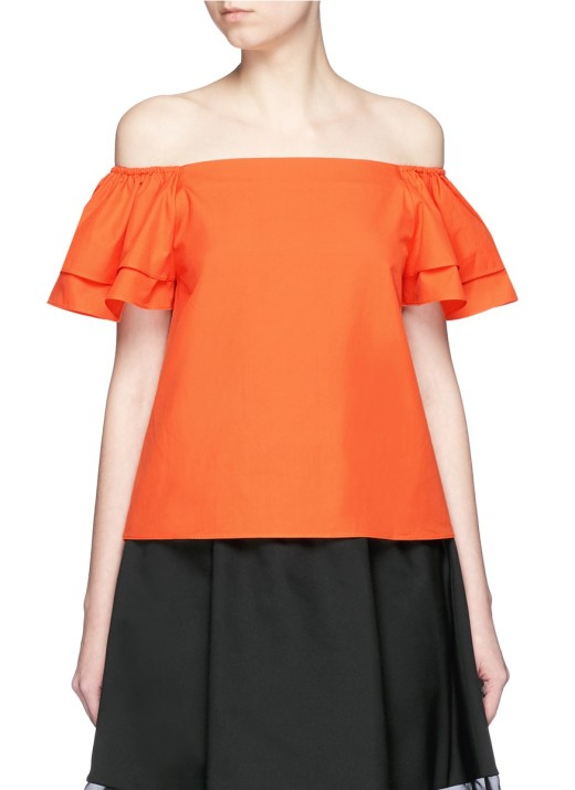 ALICE + OLIVIA - 'Loryn' ruffle sleeve poplin off-shoulder top
