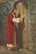 Picture of Jesus standing at the door and knocking.