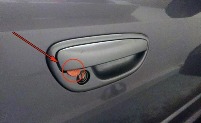 A Coin Jammed Into Your Car Door
