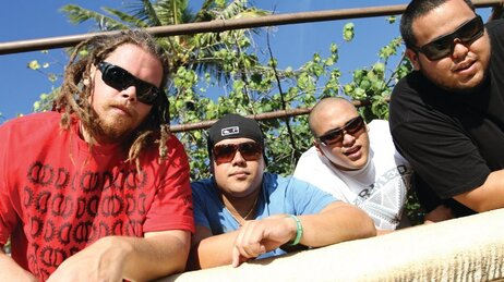 Hawaiian reggae band The Green. From left to right Zion Thompson, JP Kennedy, Caleb Keolanui and Ikaika Antone.
