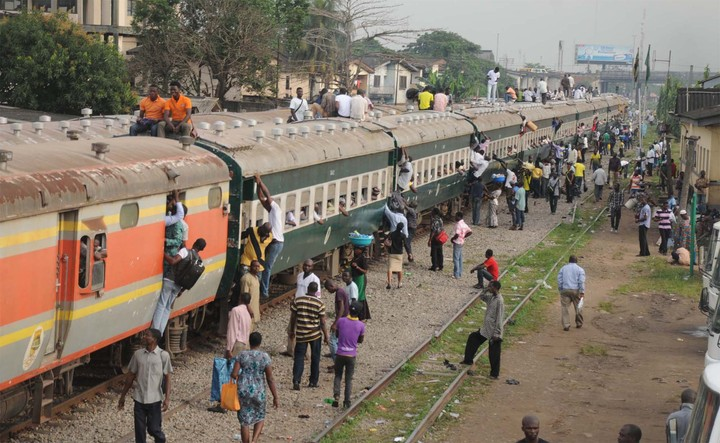 PEOPLE ON BOARD A TRAIN IN LAGOS ON TUESDAY (16/10/12).