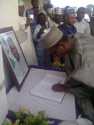Mr. Ribadu signed the condolence register opened for late Mr. Yakowa