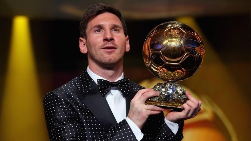 messi picking up his fourth ballon d'or