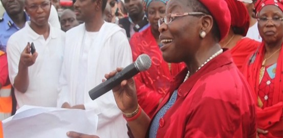Former Minister of Education, Oby Ezekwesili, speaking during Thursday's protest