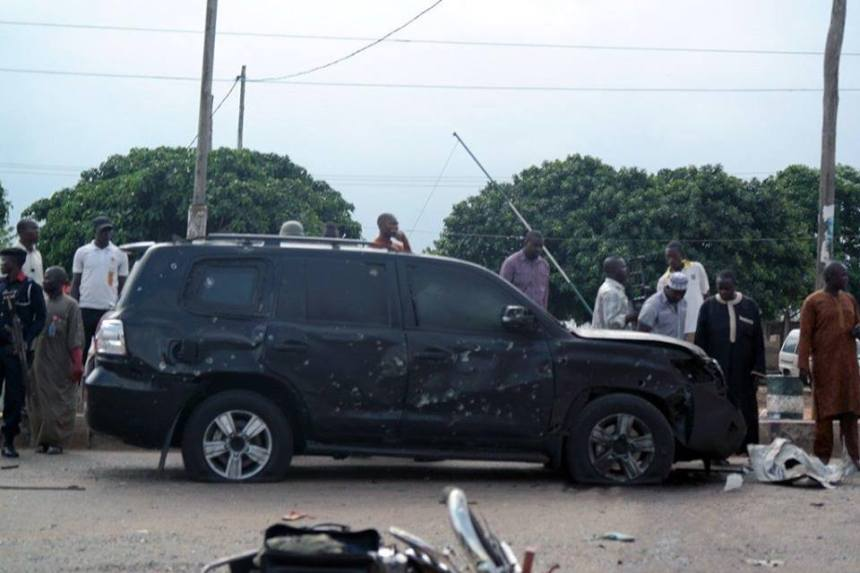 Buhari car after bomb attack