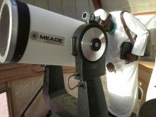Searching for the Moon.... Nigeria's Sheikh A.A. Ishola at the at the AlBayrouny Observatory in Mecca on Saturday (July 26, 2014)