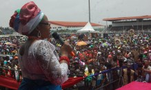 Hajia Aishat Buhari, wife of General Muhammadu Buhari, Presidential candidate of the All Progressives Congress addresses the crowd at an interactive session with Edo women at the Samuel Ogbemudia Stadium, Benin City, on Thursday.