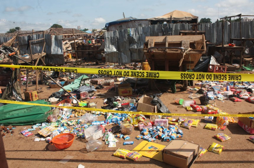FILE PHOTO: Scene of bomb blast in Kuje main market, Abuja
