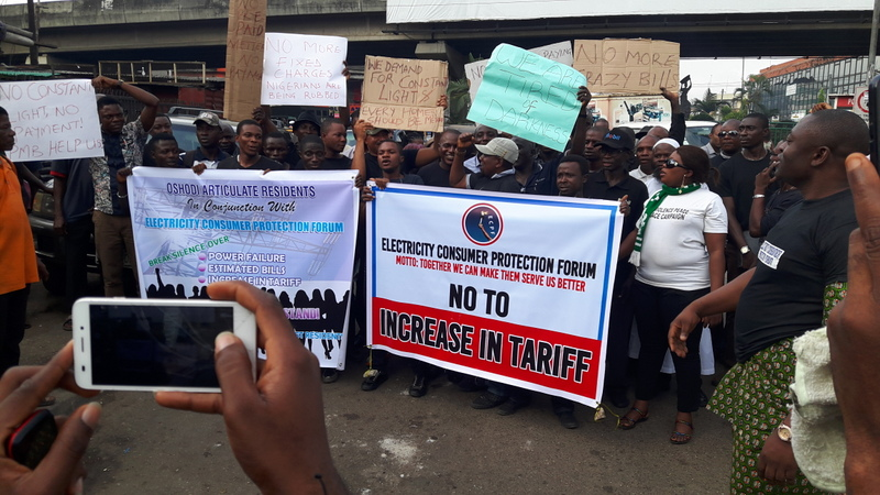 FILE PHOTO: Some members of the Electricity Consumer Protection Forum, Protesting the proposed hike in electricity tariff and alleged darkness across the nation at Ikeja,Lagos on Thursday' Nov. 12, 2015.