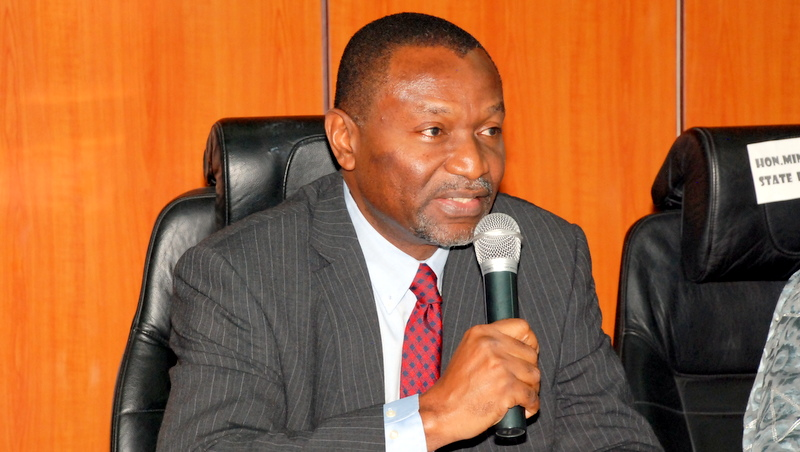 Minister of Budget and National Planning Senator Udoma Udo Udoma addressing the Management Staff  during assumption of Office at Budget And National Planning
