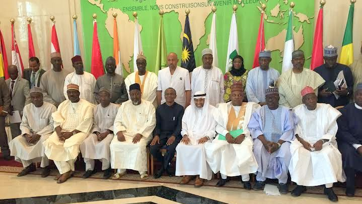From Right to Left: Governors Abdullahi Umar Ganduje of Kano, Tanko ‎Almakura of Nassarawa, leader of the delegation and Governor of Borno State, Kashim Shettima, President of the multi-billion dollar Islamic Development Bank (IDB), Dr Ahmad Mohamed Ali, Governors Nasiru El-Rufai of Kaduna, Mohammed Badaru Abubakar of Jigawa, Vice President, (operations) of the IDB, Dr Mansur Mukhtar, Nigeria's Consular General in Jedda, Ambassador Ahmed Umar and an Executive Director at the IDB, Gambo Shuaibu after a developmental cooperation meeting between a delegation of the19-member Northern States Governors' Forum and President of the IDB at the Bank's headquarters in Jedda, Kingdom of Saudi Arabia