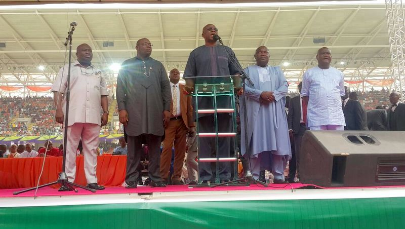 Governor Ayodele Fayose and other PDP Governors at the interdominational thanksgiving service