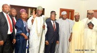Vice President Yemi Osinbajo (4th-R); The Ooni of Ife, Oba Adeyeye Ogunwusi Ojaja II (4th-L); with a delegation of the Ooni during their visit to the Presidential Villa today