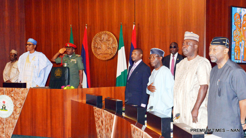 PIC. 2. FROM LEFT: PRESIDENT MUHAMMADU BUHARI; ATTORNEY-GENERAL AND MINISTER OF JUSTICE, ABUBAKAR MALAMI; MINISTER OF AGRICULTURE, CHIEF AUDU OGBEH; MINISTER OF STATE FOR AGRICULTURE, MUSTAPHA  SHEHURI, AND MINISTER OF BUDGET AND NATIONAL PLANNING, SEN. UDOMA UDO UDOMA, DURING THE FEDERAL EXECUTIVE COUNCIL MEETING AT THE PRESIDENTIAL VILLA IN ABUJA ON WEDNSDAY (20/7/16).  5192/20/7/2016/ISE/BJO/NAN