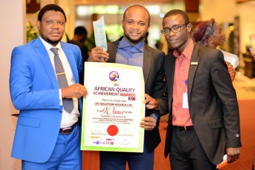 Picture of Adamu Garba II, the IPI Solutions Nigeria Limited CEO (in blue) and his management team at the African Quality Achievement Award 2016 after they were awarded the Africa's Most Reliable Quality Business Technology Solution Provider 2016.