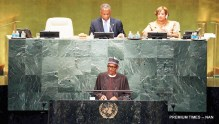 PIC.5. PRESIDENT MUHAMMADU BUHARI ADDRESSING WORLD LEADERS AT THE 71ST GENERAL   ASSEMBLY OF UNITED NATIONS IN NEW YORK.  6999/21/9/2016/ICE/HB/BJO/NAN