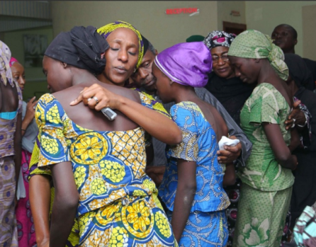 Some of the freed 21 Chibok girls