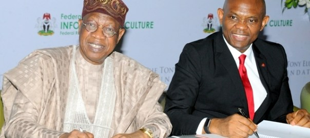 Minister of Information,  Culture and Tourism , Alhaji Lai Mohammed and Chairman Heirs Holdings and Founder, The Tony Elumelu Foundation(TEF), Mr. Tony Elumelu, at the signing of Memorandum of Understanding between the Nigerian Ministry of Information, Culture and Tourism and the Tony Elumelu Foundation to develop a framework in support of the Nigerian creative industry, which was held at the National Arts Theater, Lagos on Tuesday