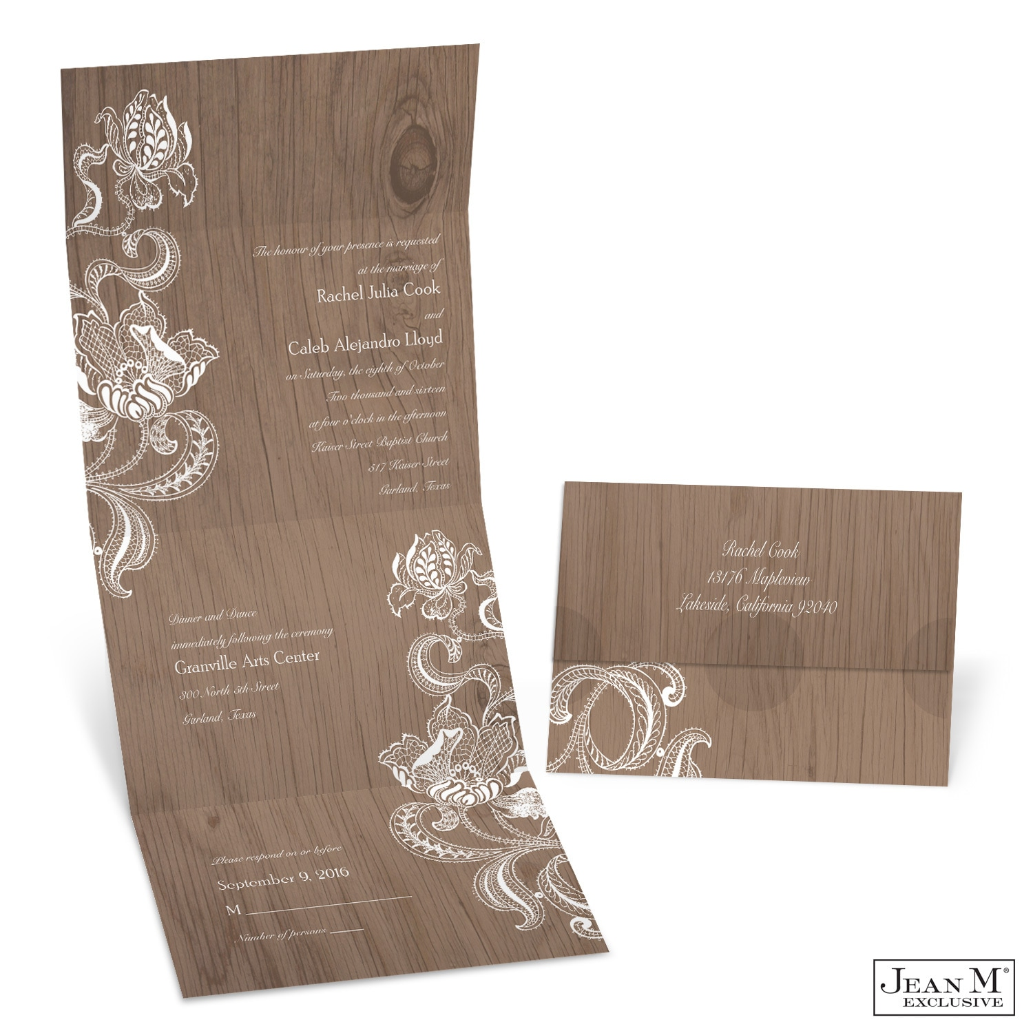 MKFC Lacy Rustic Seal and Send Wedding Invitation wedding invitations michaels Lacy Rustic Seal and Send Wedding Invitation