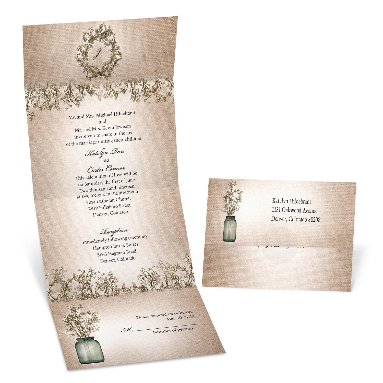 MKFC Burlap and Babys Breath Seal and Send Wedding Invitation wedding invitations michaels Burlap and Baby s Breath Seal and Send Wedding Invitation
