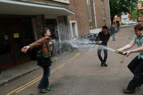 Post-exam cava is the only public spraying most Cambridge students are used to