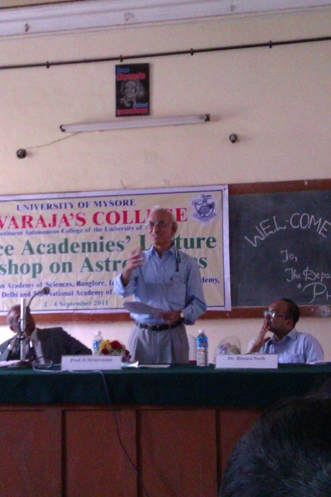 Prof G Srinivasan delivering his introductory speech