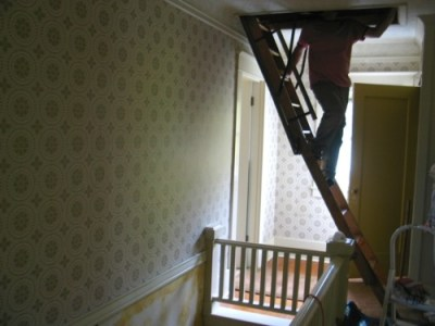Stripping The Old Wallpaper in the Upstairs Hallway | The Craftsman Bungalow