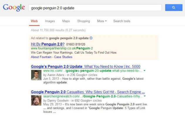 The Role of Social Media in SEO image google penguin update screen grab3