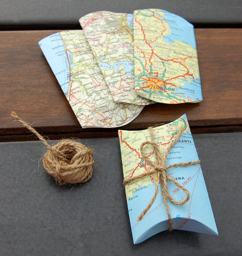 eco-wrapping with old maps