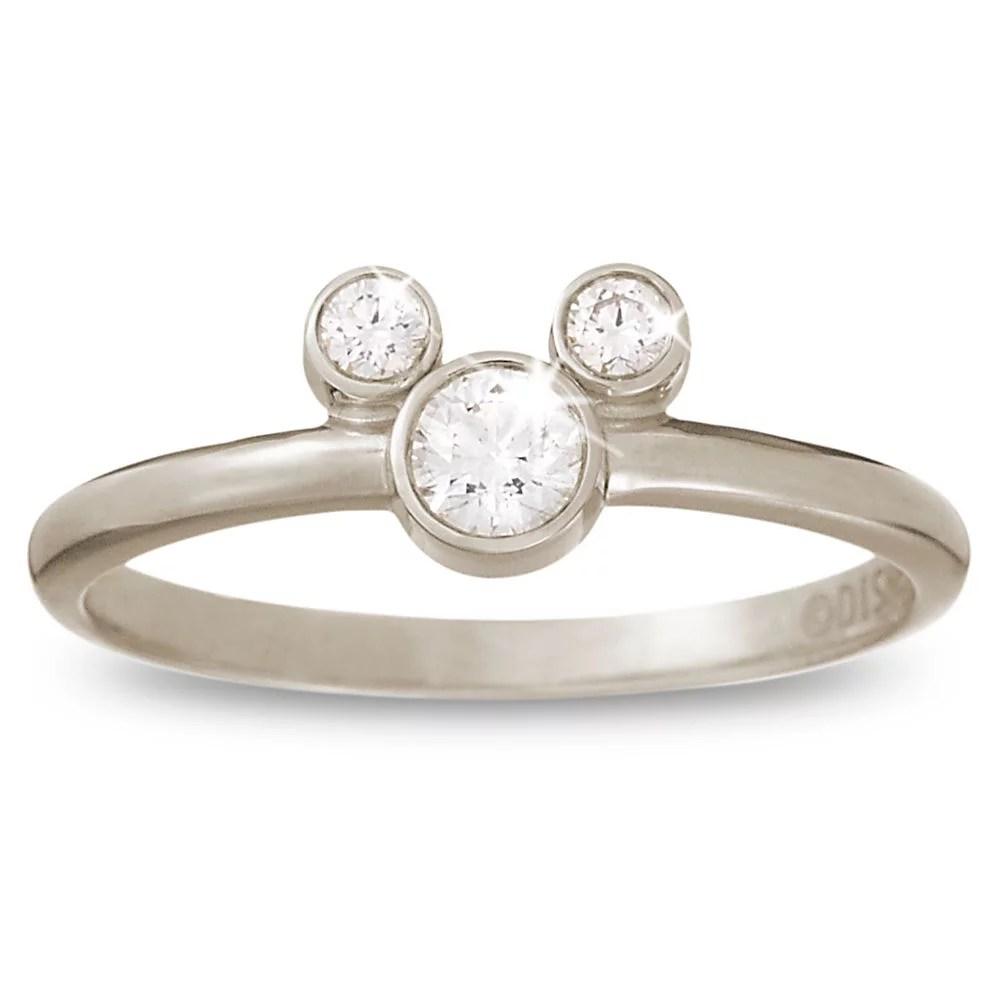 Disney Engagement Rings hsn wedding rings 18 karat white gold Diamond Mickey Mouse Icon Ring 1