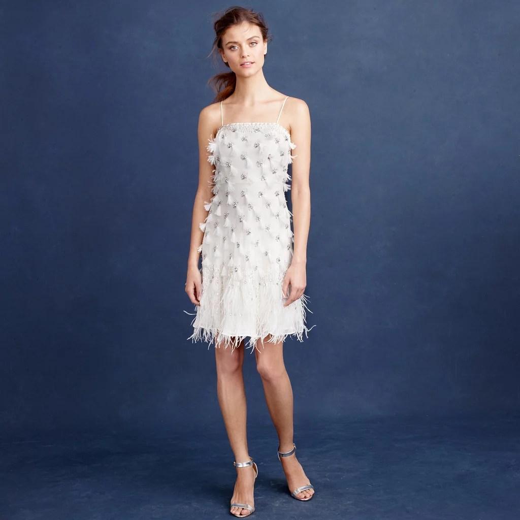Best Wedding Rehearsal Dresses wedding rehearsal dress J Crew Feather Flapper Dress 1