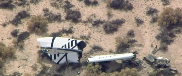 Image: Wreckage from Virgin Galactic's SpaceShipTwo is shown in this still image captured from KNBC video footage from Mojave California