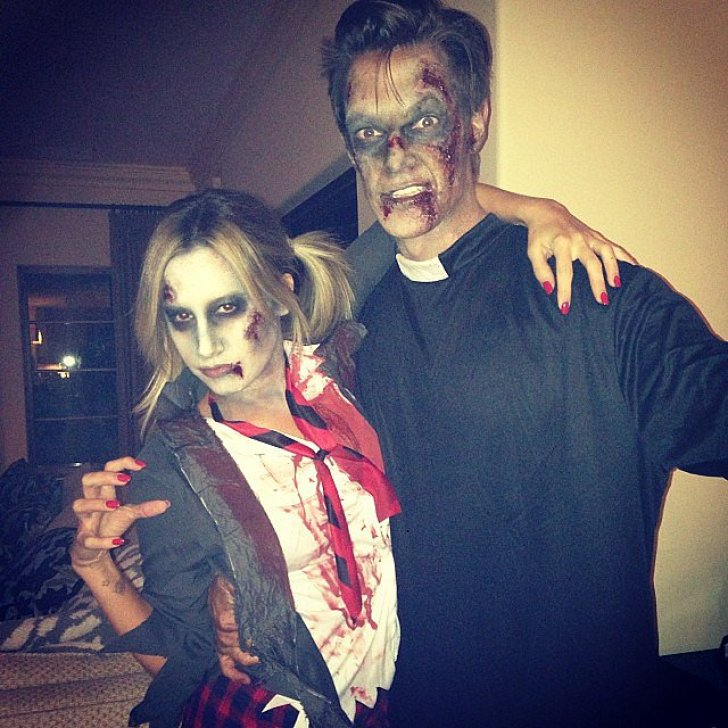 Ashley Tisdale was a zombie schoolgirl while her fiancé Christopher French dressed as a dead priest.<br /><br /> Source: Instagram user ashleytis<br /><br />