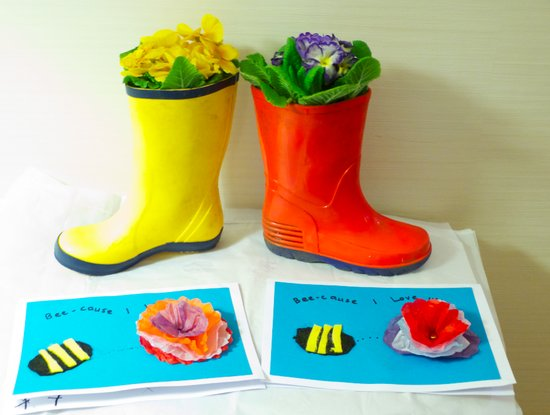 Happy mothers day - wellies and flowers!