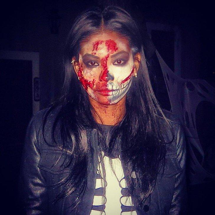 Chanel Iman sported scary makeup.<br /><br /> Source: Instagram user chaneliman<br /><br />