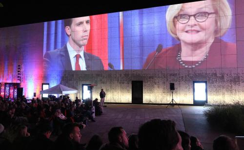 Hilarious Claire Mccaskill Public Media As People Watch A Outdoor Public Viewing Area Health Party Independence Are Major Mes In Missouri Attorney General Josh Hawley Debate At Ninenetwork