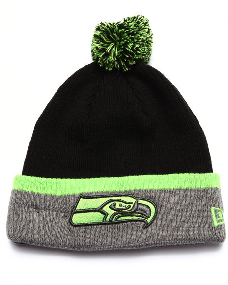 New Era Men Seattle Seahawks Cuff Popper Knit Hat Lime Green 1SZ