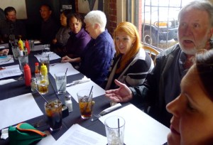 Members of the Chronicle negotiating committee met during lunch Monday with their new colleagues in the Guild's Purple Communications bargaining unit whose own talks begin Tuesday.