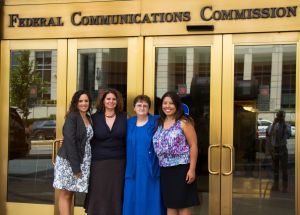 Judith Kroeger, Naomi Sheneman, Mary Jane Moore and Norma  Villegas outside FCC headquarters.