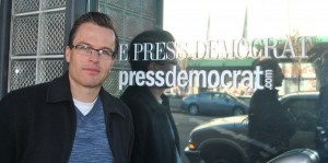 Derek Moore, a reporter at The Press Democrat, joined the Guild in 1999.  Photo by Kat Anderson 2012.