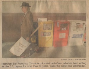 This clipping is from the San Jose Mercury News dated November 3, 1994. It shows San Francisco Chronicle columnist Herb Caen walking the picket line near 5th and Mission in San Francisco during the newspaper strike of 1994. Photo by Jason M. Grow – Mercury News.