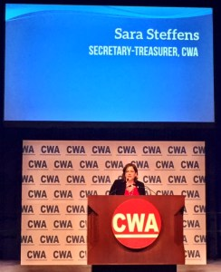 Steffens addresses the CWA Convention 75 as newly-elected Secretary-Treasurer.