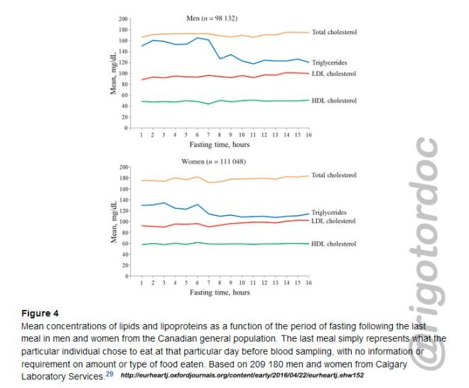 Concentraciones medias de lípidos y lipoproteínas en función del período de ayuno después de la última comida.
