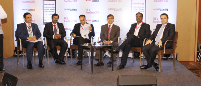 (L-R) Darshan Patel - Partner, PwC; Krishna Singh - Founder-CEO, GlobalSpace Technologies; Vikas Dandekar- Editor Pharma, The Economic Times; YS Prabhakar - CEO, Sutures India; CT Renganathan - Managing Director, RPG LifeSciences; Ali Sleiman - General Manager India, Merck Serono