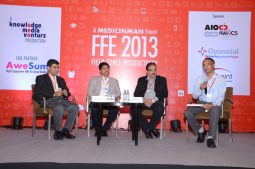 FFE 2013 Panel Discussion (L-R): Ameesh Masurekar - Founder Director, AIOCD Pharmasofttech AWACS; Dr. Viraj Suvarna - Medical Director, Boehringer Ingelheim; Salil Kallianpur - Executive VP, Primary Care, GSK; Vikas Dandekar - India Bureau Chief, Elsevier Business Intelligence
