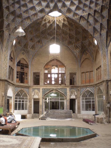 The interior of a caravanserai in Kashan, Iran. Image.