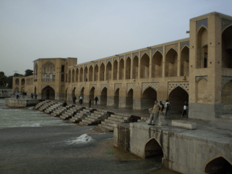 Khwaju Bridge in Isfahan, Iran, serving as both a bridge and a dam. It also serves as a place for public meetings.