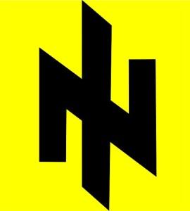 """Logo Sociálno-nacionálnej strany Ukrajiny. To kľukaté sa volá Wolfsangel (Vlčí hák) - runa, ktorá sa často používala na označovanie nacistických subjektov a v spojení s ďalšími symbolmi tvorila heraldickú súčasť nacistických erbov. Napríklad bola súčasťou 2. Pancierovej SS divízie """"Das Reich"""""""
