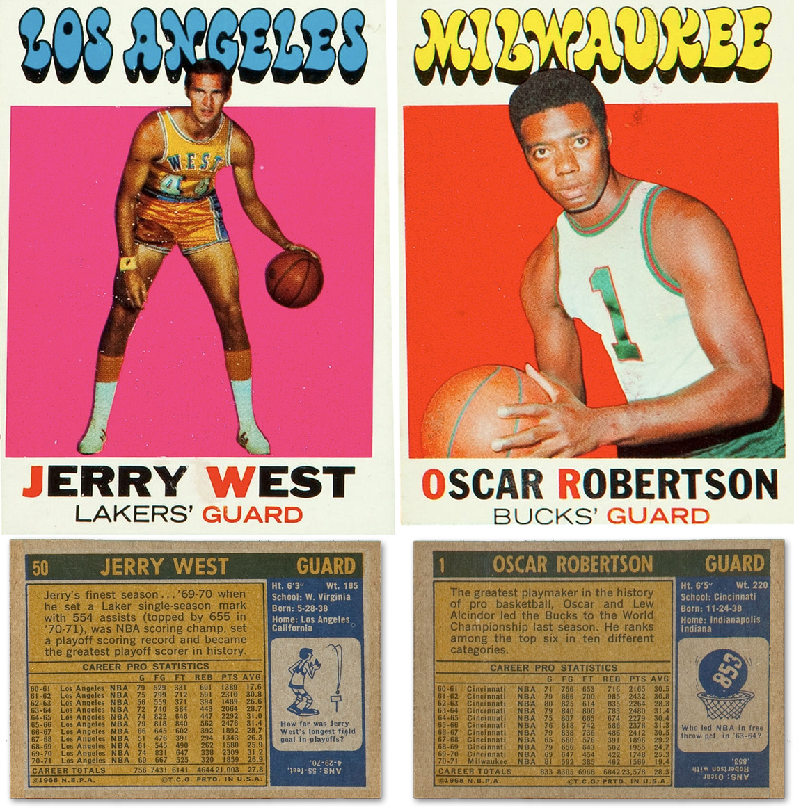 Jerry West & Oscar Robertson :: 1971-72 Topps Basketball Trading Cards