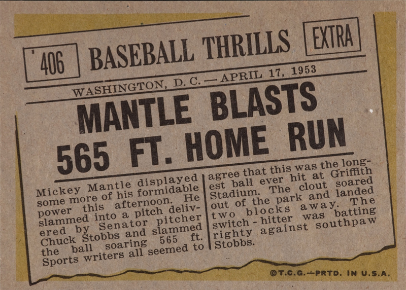 1961 Topps Mantle Blasts 565 Ft. Home Run